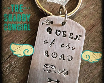 Queen of the Road hand stamped keychain