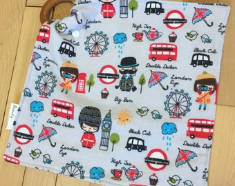 Natural Wooden Teether Lovey Blanket -- Sights of London