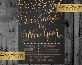 New Years Invitation, New Years Party Invitation, New Years Eve Invitation,  Gold Glitter , instant download, editable pdf