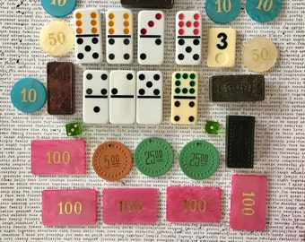 Vintage game piece lot, domino, poker chips