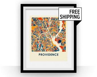 Providence RI Map Print - Full Color Map Poster
