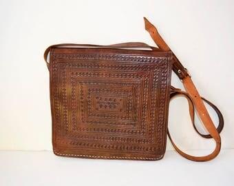 Retro vintage leather handbag