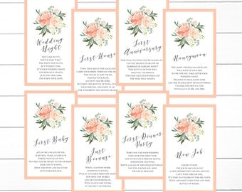 Peach Floral Wedding Wine Tags, Milestone Wine Tags, Year of Firsts Wine Tags, Bridal Shower Wine Tags, INSTANT DOWNLOAD
