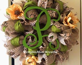Custom Monogram Burlap Deco Mesh Wreath - Monogram Wreath - Burlap Wreath