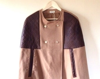 Wool Cape Coat. Wool Coat. Womens Cape Winter CapeCoat Camel Wool  and Leather - Songs From The Wood -