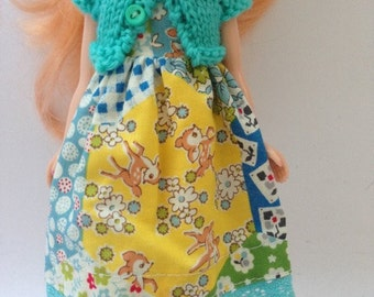 """Neo Blythe 12"""" Doll Bambi Patch Print Dress with Lace Trim and Matching Aqua Knitted Short Sleeve Cardy"""