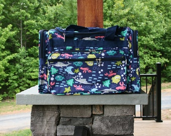 Personalized Navy Under Sea Duffel Bag Personalized Gift