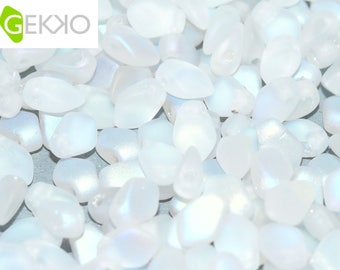 Gekko® Beads Crystal AB MATTED, 3 x 5mm, 5 grams (approx 100 beads)