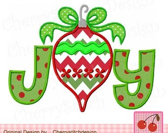 Christmas JOY,JOY with ornament, Christmas Ornament  CH0089 - approximate 5x7 and 6x10 inch,Machine embroidery