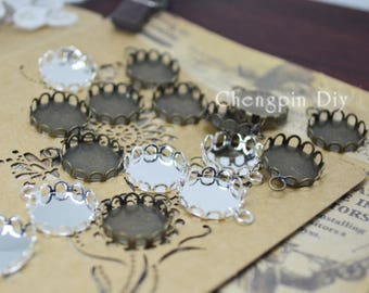 12mm 50pcs Silver Plated/Antique Bronze Copper Round Lace Cabochon Base Cameo Settings Blank Tray Bezel
