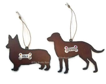 WELSH CORGI or LABRADOR dog ornament personalized made of Rustic Rusty Rusted Recycled Metal