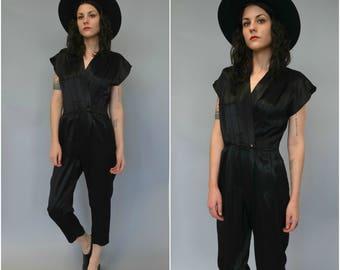 1980s short sleeved tapered black jumpsuit