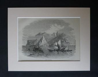 1870s Antique Isle of Elba Print, Tuscany Gift, Italian Decor, Available Framed, Italy Art, Tuscan Archipelago Wall Art, Sail Ships Picture