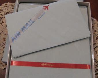 Vintage 1960s 70s Hallmark Air Mail Par Avion Boxed Stationery, Papers & Envelopes Set