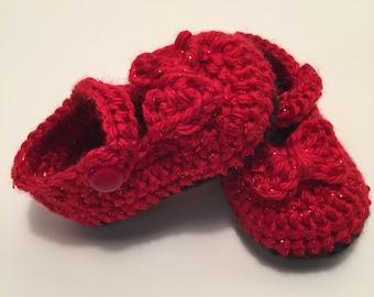 Crochet Baby Booties, Maryjanes, 0-3 Months, Bow Booties