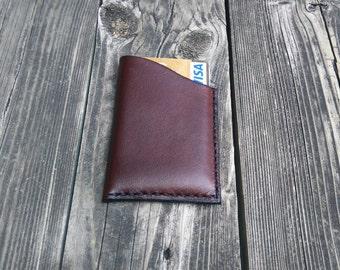 Leather card holder / credit card, visa, mastercard, Handmade, hand stitched Dark Brown