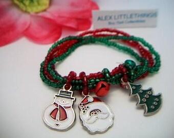 Festive Christmas Charm Bracelet Santa Snowman Christmas Tree Bell Multi Strand Costume Jewelry