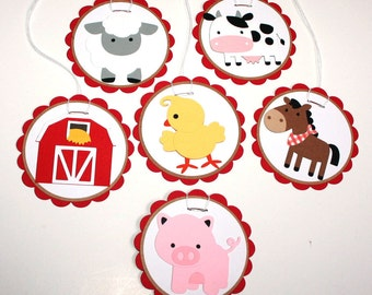 Farm Gift Tags - Farm  Animal Tags - Set of 12