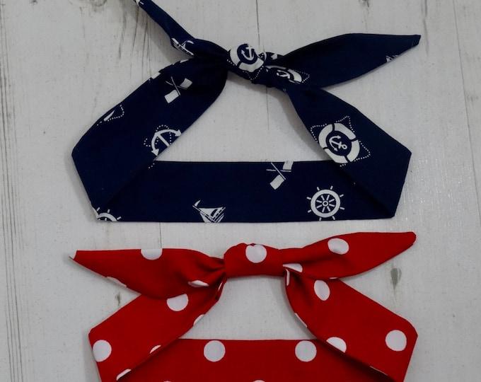 Baby Rockabilly Head Scarf Set - Blue Nautical Red Polka Dot - Cotton Shower Bandana Boy Girl Gift Unisex 1950s Pin Up Tattoo
