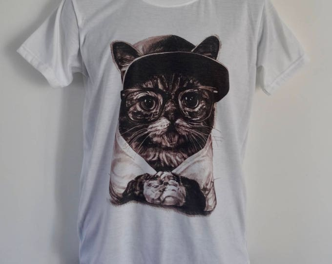 Men's Geek Cat T-Shirt - Tattoo Glasses Funny Alternative - UK S M L