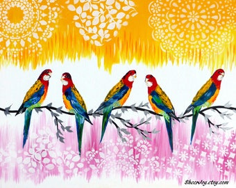 """modern art, pink painting, with birds, on, canvas, australian, painting, paintings, original, handmade, art, pink and yellow, 29.5"""" x 23.5"""""""
