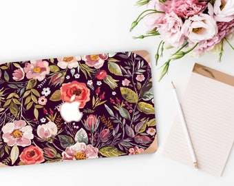 Platinum Edition Midnight Floral Medley with w/Rose Gold Edge Hybrid Hard Case for Apple Mac Air & Mac Retina , New Macbook 2016