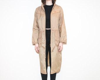 on sale - 70s long beige zip-up windbreaker / foldable multi-length spring jacket / size M