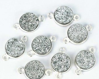 4th July30% OFF Natural Silver Druzy, Bezel Round Shape Station Connector, 10mm Round Silver Plated, Double Bail 1pc (SZ-11188)