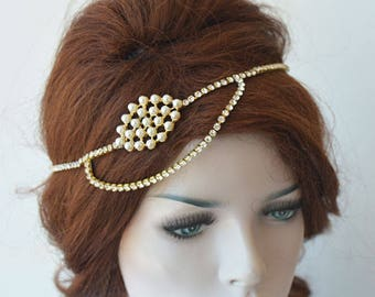 Pearl Bridal Headpiece, Gold  Headband, Gold Wedding Headpiece, Gold Bridal Hair Jewelry, Wedding Accessories