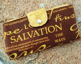 Scripture Checkbook Cover, Religious Coupon Wallet, Christian Checkbook Cover