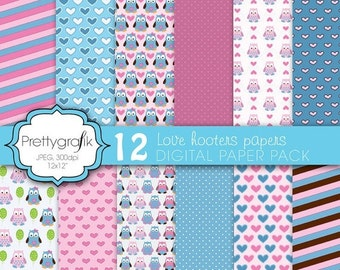 80% OFF SALE love owls digital paper, commercial use, scrapbook papers, background  - PS586