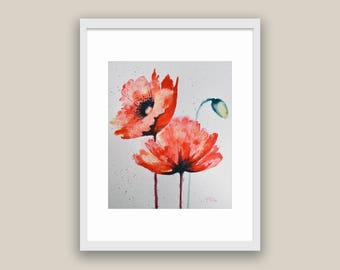 SALE Watercolor Abstract Flowers Poppies by Tamara Shturba -