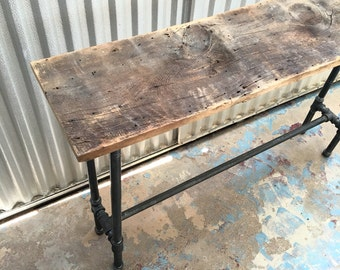 """Henry Console Table 48"""" Reclaimed Wood and Steel Pipe Modern Industrial Rustic Furniture"""