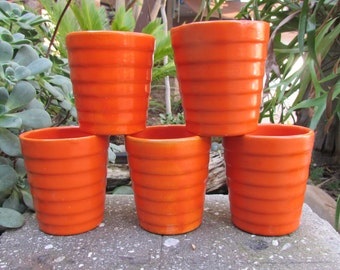 Vintage orange ringware tumblers cups set of 5 Bauer California Pottery Midcentury