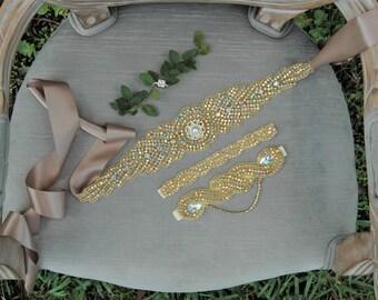 Gold Bridal Sash, Gold Bridal Belt, Crystal Gold Bridal Sash, Diadema Novia, Gold Wedding Sash, Gatsby Gold Bridal Belt