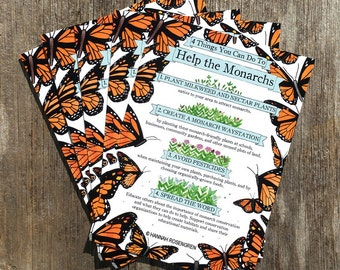 5 Postcard Pack - Four Things You Can Do To Help the Monarchs / butterfly preservation / environmental / nature awareness