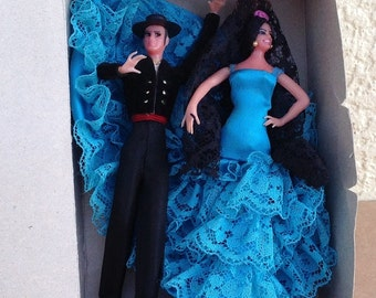"Miniature MARIN Spanish Dancing Dolls Couple boxed set Chiclana Carolilla 5"" tall vintage plastic Spain"