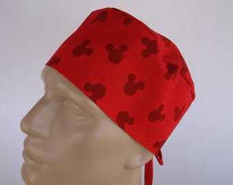 Mickey Mouse Red Men's Surgical Scrub Hat  with sweatband option - scrub cap, bakers hat,88+1260