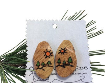 Wooden  Earrings Mountain Scene