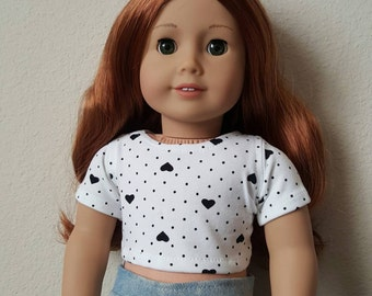 Hearts Cropped tshirt for 18 inch dolls by The Glam Doll - Fits American Girl dolls