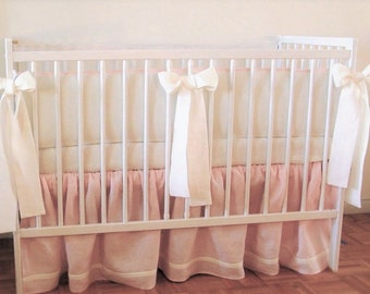 Linen Crib  bedding -  skirt and 4 side bumper - girl  crib bedding