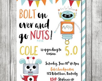 Robot Birthday Invite - Bolt On Over Birthday Invite - 5x7 JPG (Front and Back Design)
