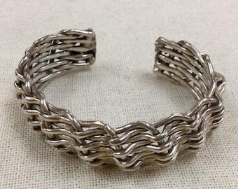 Vintage 925  Solid  Sterling Silver Braided Cuff  Bracelet!!!!