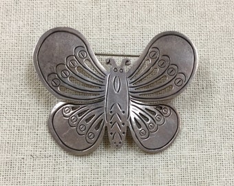 Vintage Mexico 925 Sterling Silver Butterfly Pendant/ Pin Free US Shipping!!!