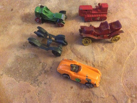 Five vintage diecast cars and tractor, Ahi diecast toys, collectible diecast toys, miniature diecast collector, Father's Day gifts