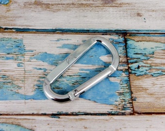 Caribiner, climbing shoe clip. Hand stamped aluminum, personalised with a message or image of your choice