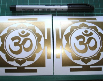 Gold Om x 2 vinyl decals