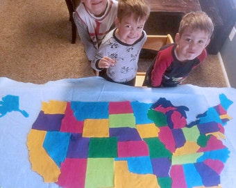 HUGE Kids Felt Map of the United States. Montessori USA map activity. Includes hanging strips. 51 Pieces. 3x5 ft.