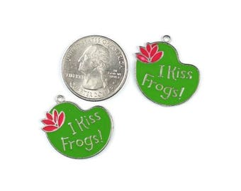Enamel Green I Kiss Frogs! Charms 6 QTY