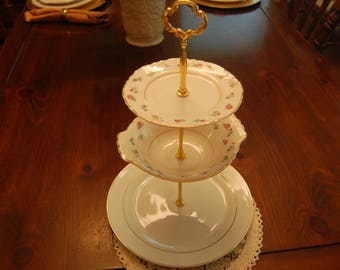 Gold Elegance Tea Stand/Cupcake Tray/Dessert Tray, 3 Tiered Serving Plates,  2 matching with small beautiful flowers,Holidays,Tea Time(P322)